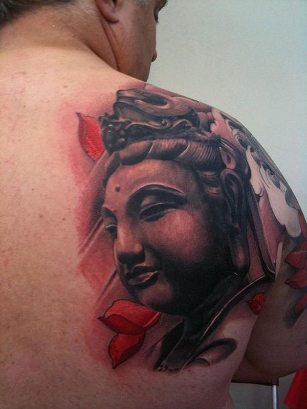 Phenomenal Buddha Back Tattoo With Black Ink For Woman Man