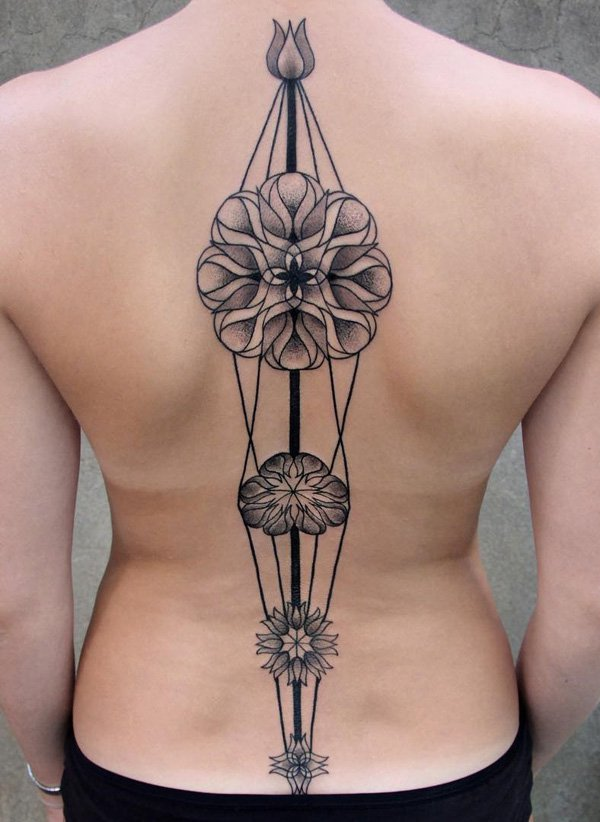 Phenominal Spine Tattoo With Black Ink For Woman