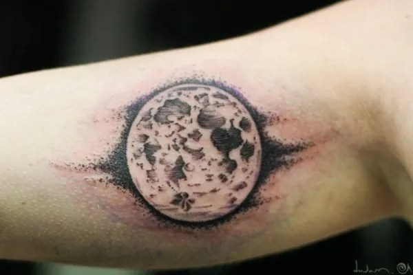 Unique Moon Tattoo On Arm With Black Ink For Man Woman