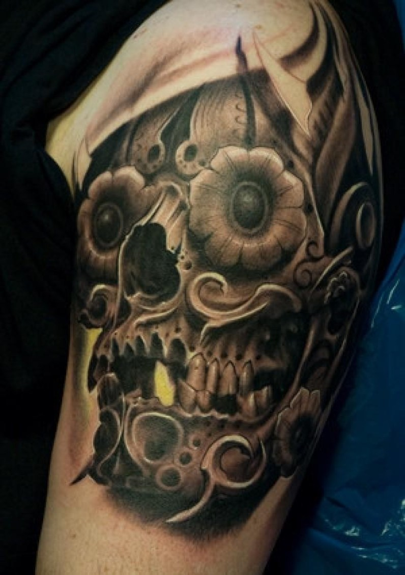 Unique Steampunk Skull Tattoo On Arm With Black Ink For Man And Woman