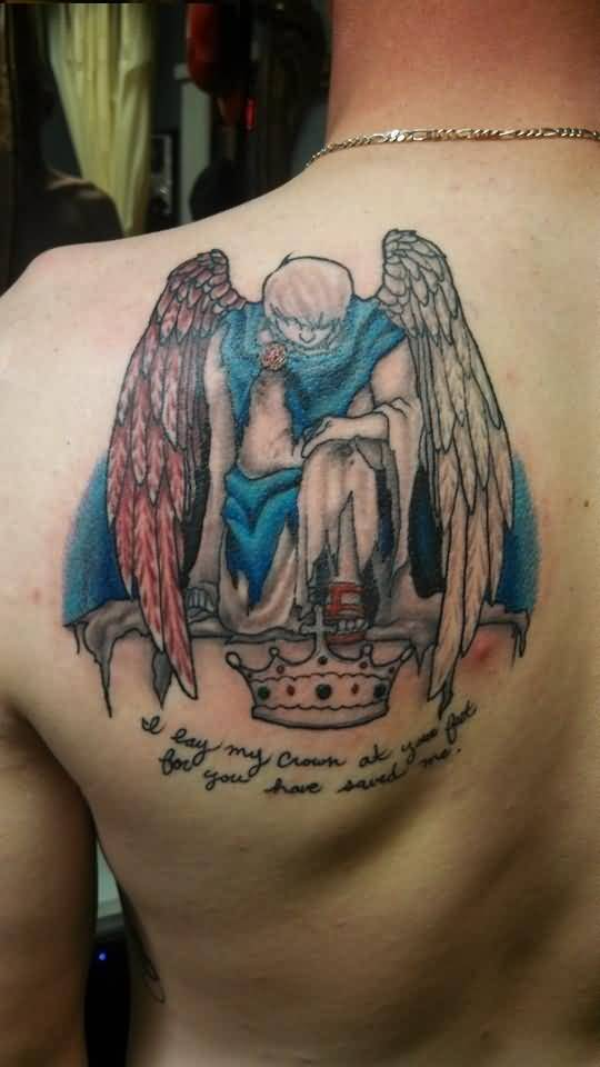 realistic blue and red light color ink angel warrior tattoo on boy's full shoulder for mans only made by expert