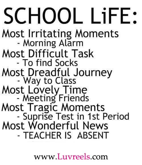 School Life Most Lrritating Moment Morning Alarm Most Difficult Task To Find Socks Most Dreadful Journey Way To Class Most Lovely Time Meeting Friends Most Tragic Moments Suprise Te