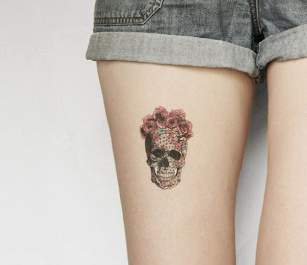 Sexy Skull Temporary Tattoos On Thigh For Man Woman