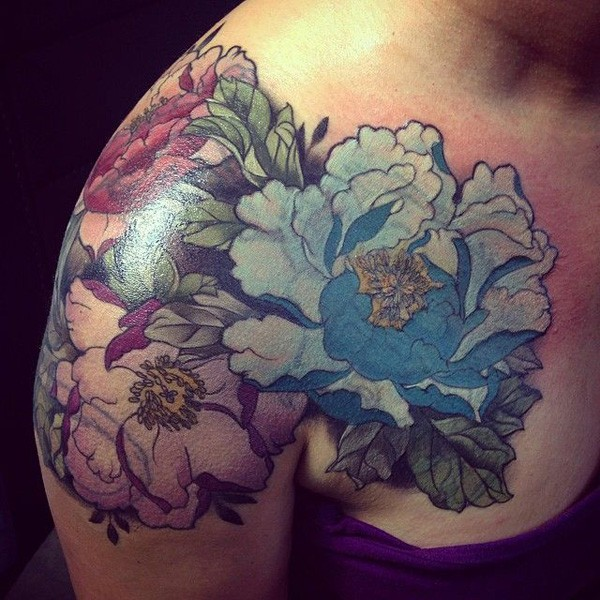 simple Peony tattoo on shoulder With colourful ink For Man And Woman