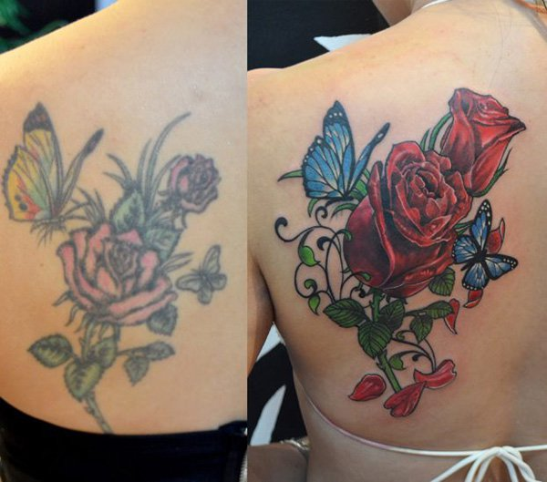 Simple Rose And Butterfly Cover Up Tattoo On Back With Colourful Ink For Man And Woman