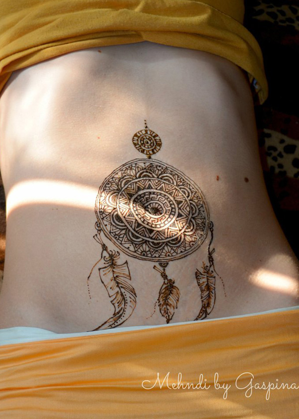 simple Dream catcher Henna Temporary Tattoos For Man Woman