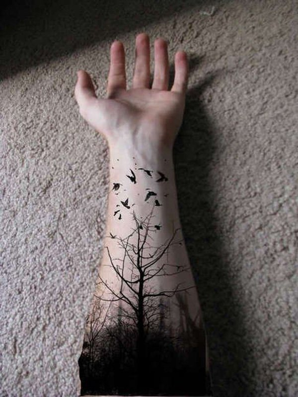 simple forest with birds forearm tattoo on wrist With Black ink For Man And Woman