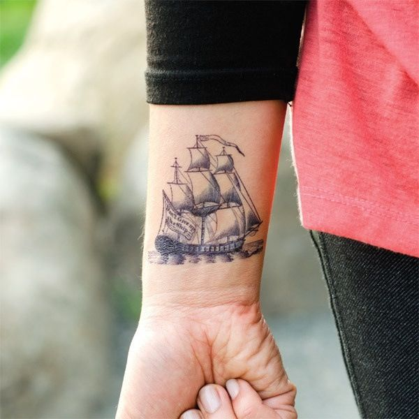 Stunning Boat Temporary Tattoos On Wrist For Man Woman