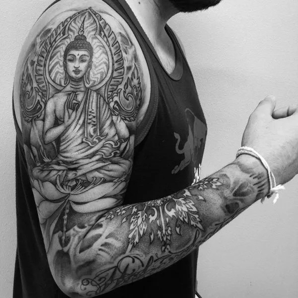 Stunning Buddha Sleeve Tattoo With Black Ink For Woman Man