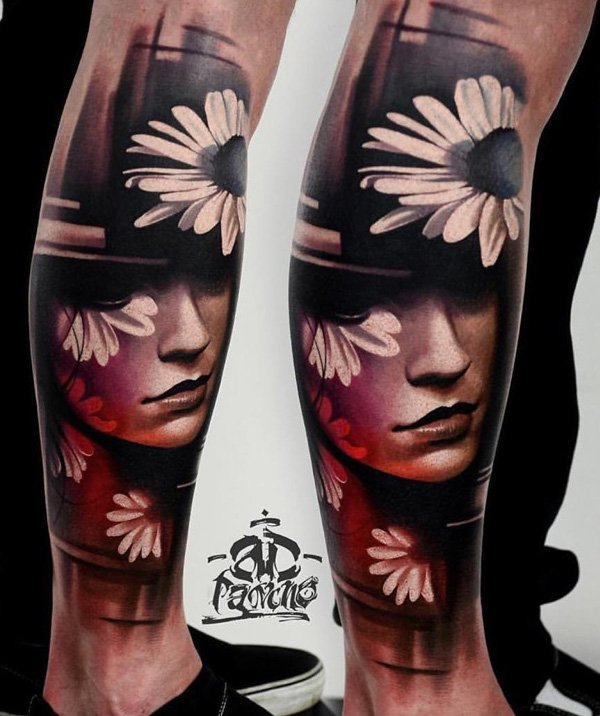Stunning Portrait Calf Tattoo With Colourful Ink For Man Woman