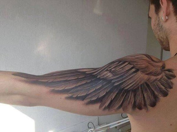 Superb Wing Tattoo On Shoulder With Black Ink For Man Woman Wing Tattoo