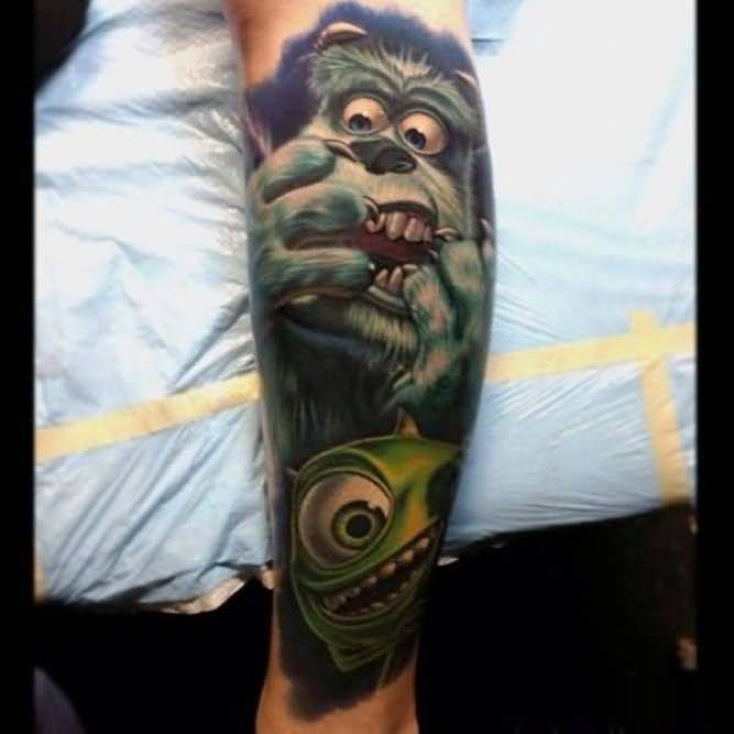 superb green gray and blue color ink animated leg tattoo on boy's arm for man made by expert