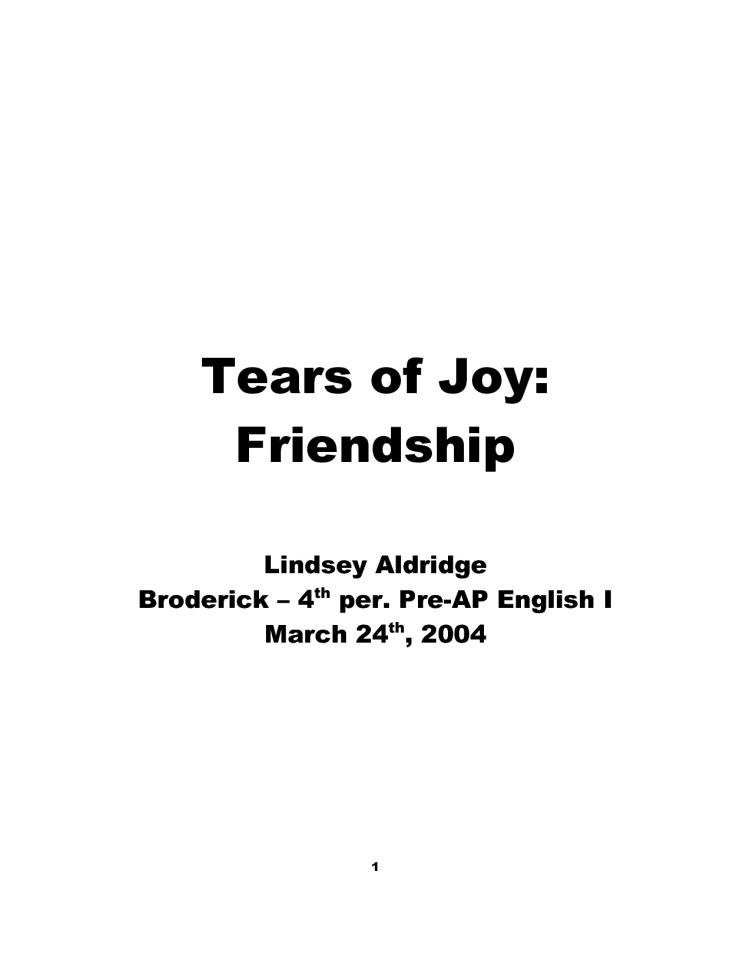 tears of joy friendship Lindsey