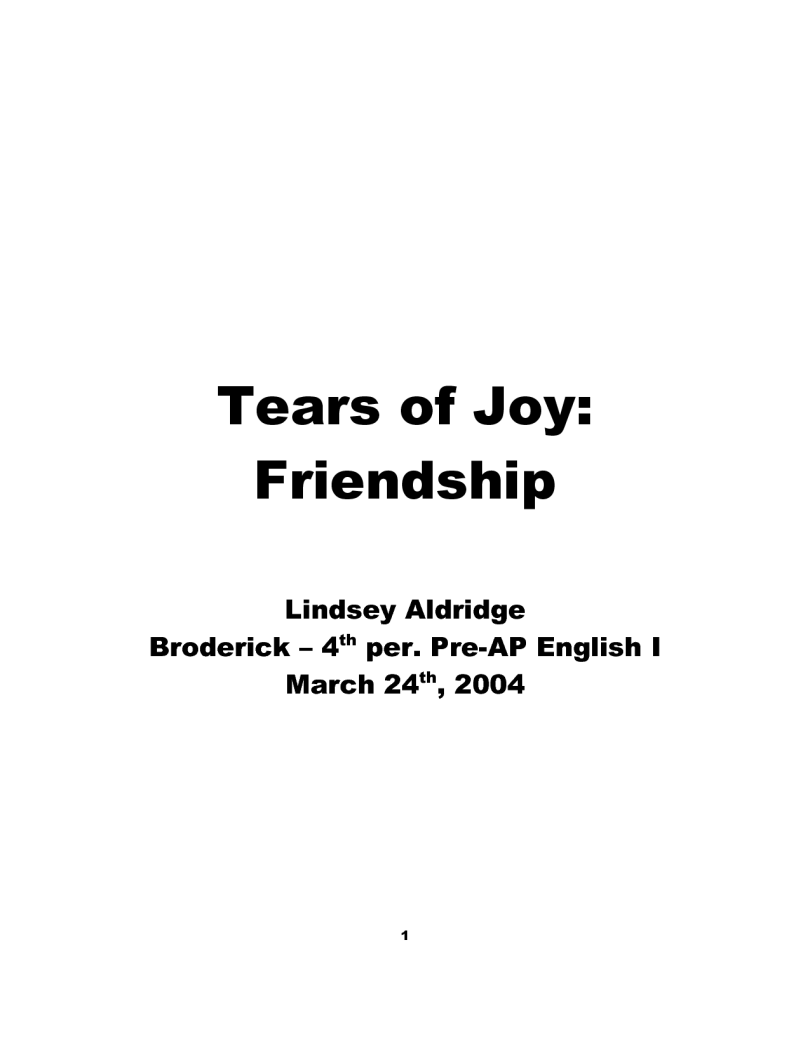 tears of joy friendship Lindsey