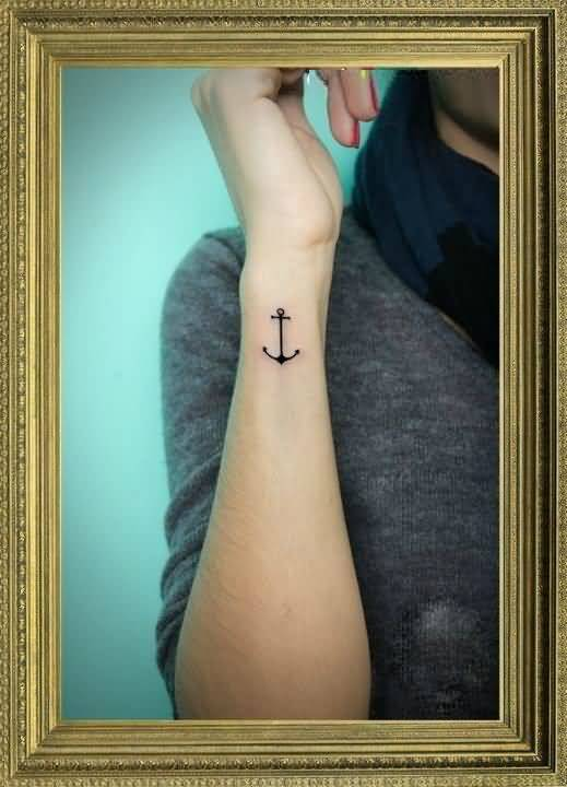 terrific black color ink anchor tattoo on boy sleeve for boys outlines made by simple person