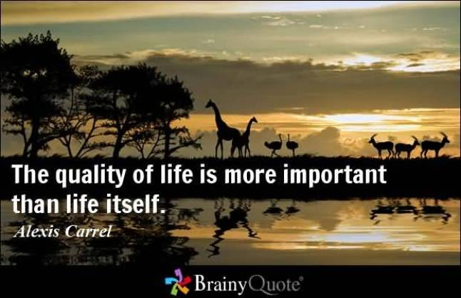 The Quality Of Life Is More Important Then Life Itself Alexis Carrel