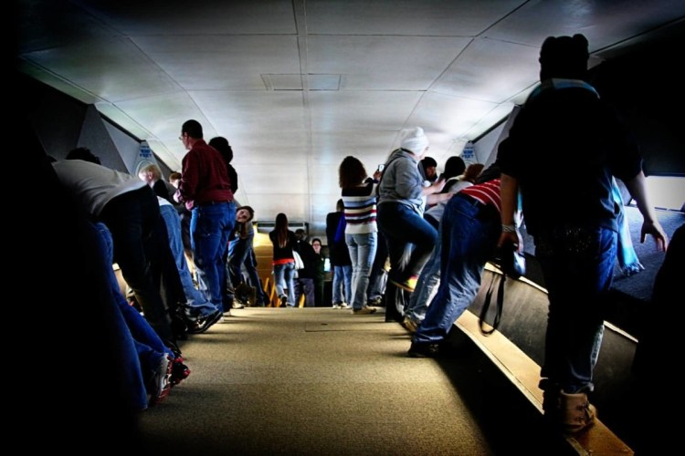 On The Top View Of Inside The Gateway Arch With Many People
