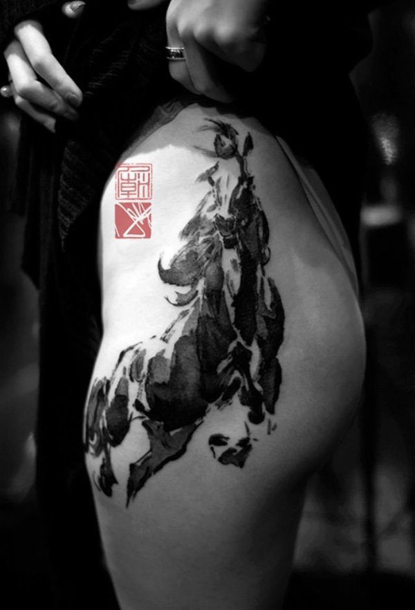 Traditional Chinese Painting Style Horse Tattoo On Thigh With Black Ink For Women And Man