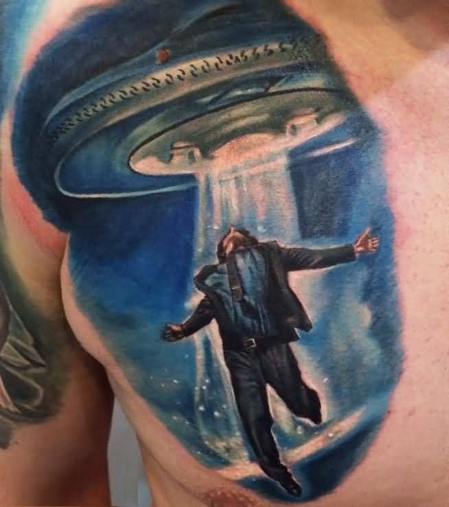traditonal blue and gray color ink 3D Ufo Tattoo For Men on men 's chest