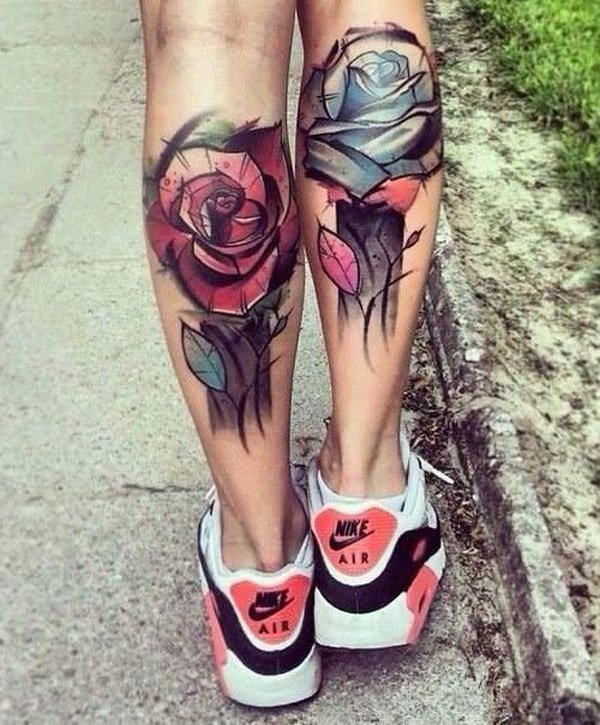 Trending Rose Calf Tattoo With Colourful Ink For Man Woman