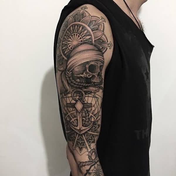 Trendy Mandala And Skull Tattoo For Man With Black Ink