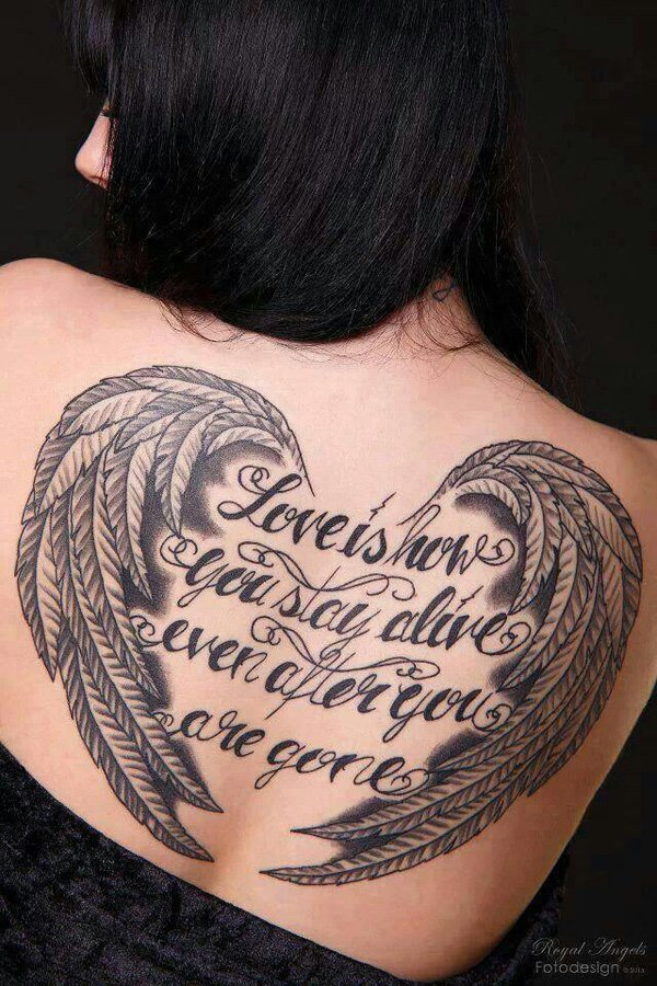 Trendy Woman Back Angel Wings Tattoo With Black Ink For Man Woman