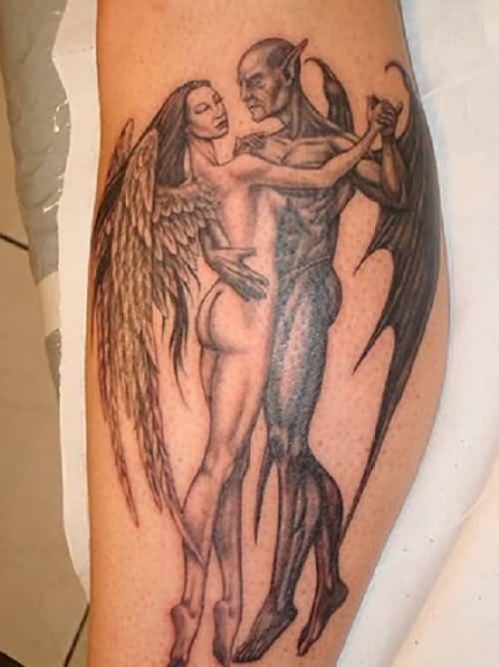 trendy gray and color ink Angel Tattoos on boy leg made by expert artist