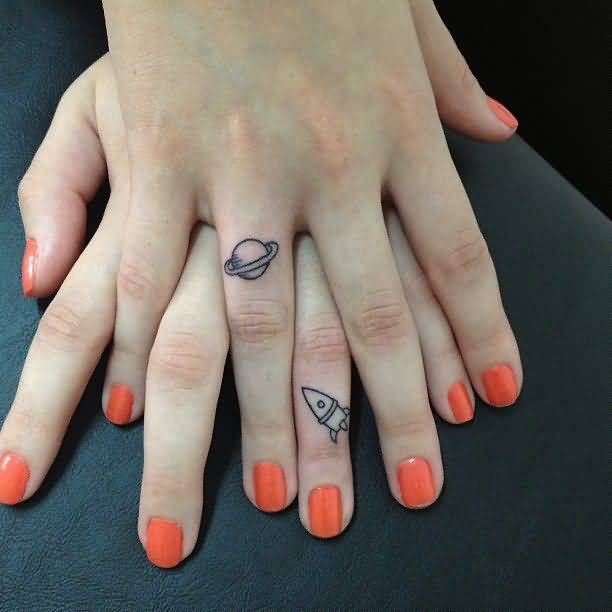 trendy gray color ink Ufo Tattoo On Fingers for girls