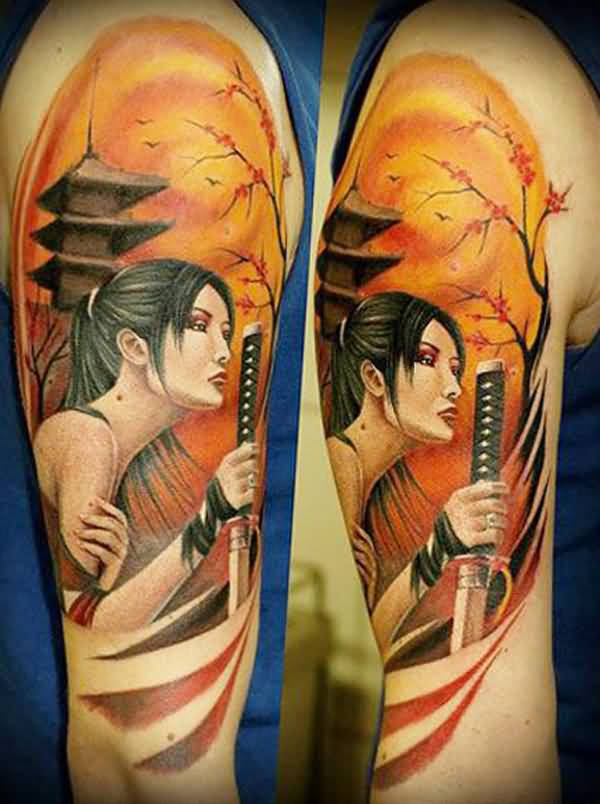 Trendy Warrior Tattoo On Arm With Colorful Ink For Women And Man