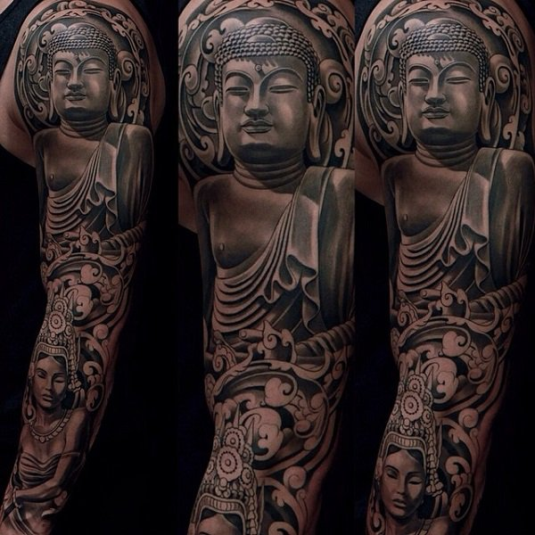 Ultimate Buddha Full Sleeve Tattoo With Black Ink For Woman Man