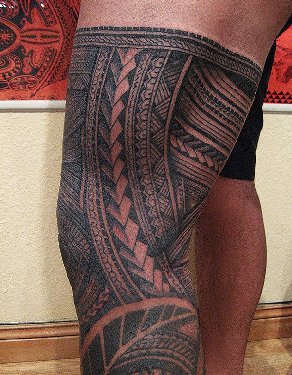 Ultimate Samoa Leg Tattoo On Thigh With Black Ink For Man Woman