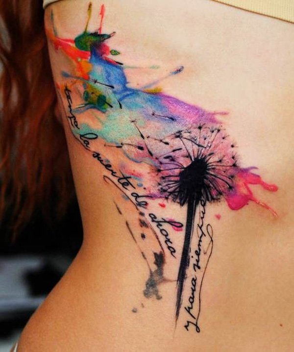 unique Watercolor Dandelion Tattoos With colorful ink For Man And Woman