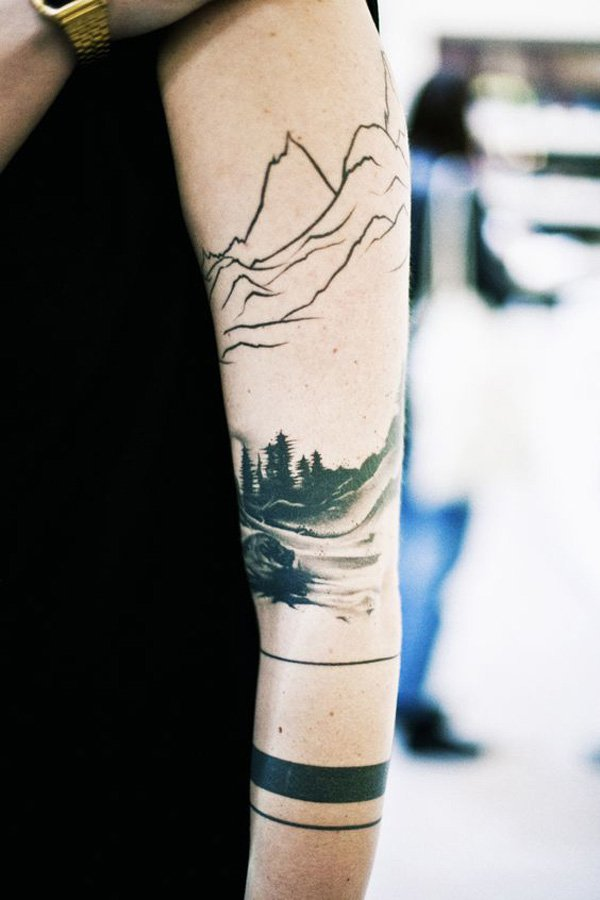unique mountain tattoo on hand With Black ink For Man And Woman