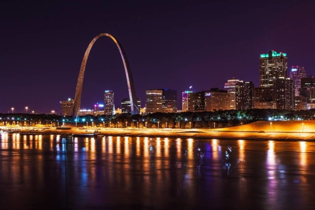Very Beautiful View Of The Gateway Arch At Night With Beautiful City Light