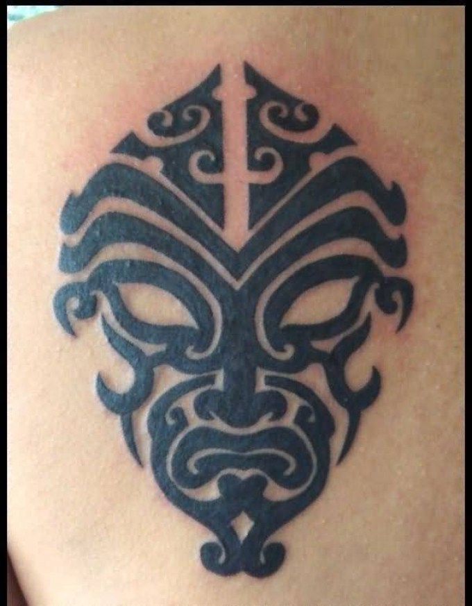 Weird Dark Gray Color Ink Mask Tatto For Boys