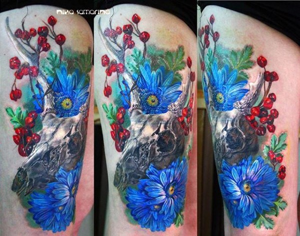 Wonderful Colorfull Skull And Flower Tattoo On Arm With Colorful Ink For Man Woman