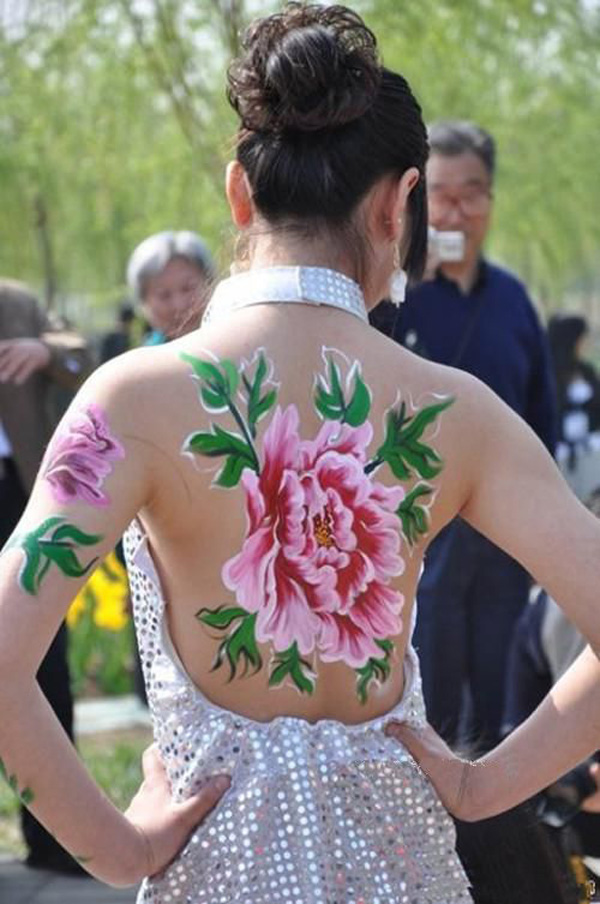 Wonderful Flower Temporary Tattoo On Back For Man Woman