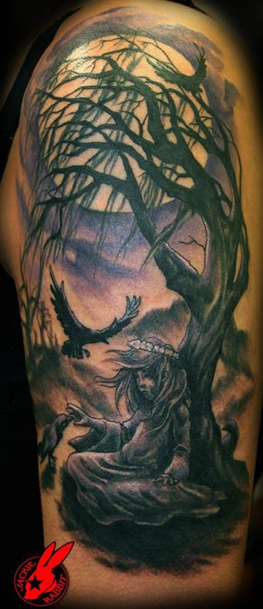 Wonderful Gothic Girl And Tree Tattoo By Jackie Rabbit With Colorful Ink For Man Woman