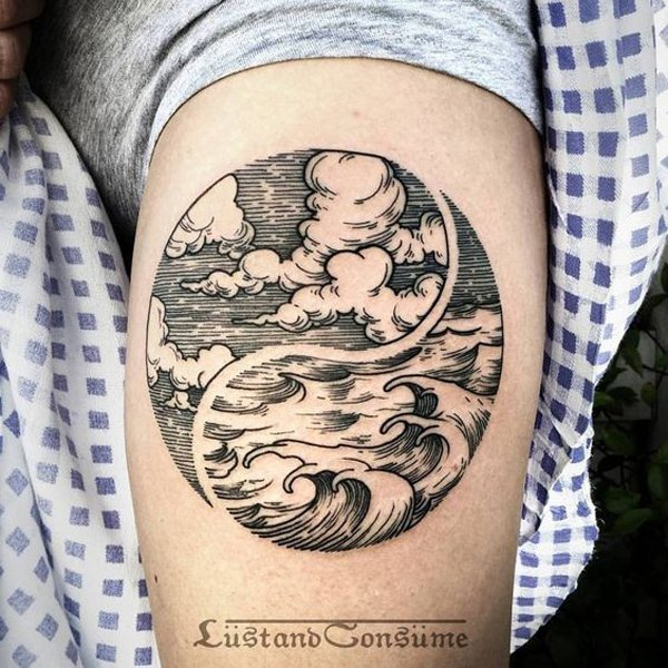 Wonderful Ocean Sky Tattoo By Phil Tworavens With Black Ink For Man Woman