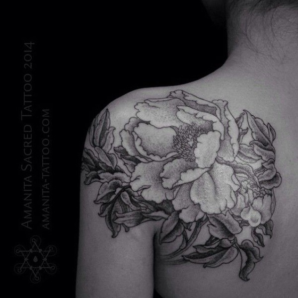 wonderful Peony tattoo on shoulder on back With colourful ink For Man And Woman
