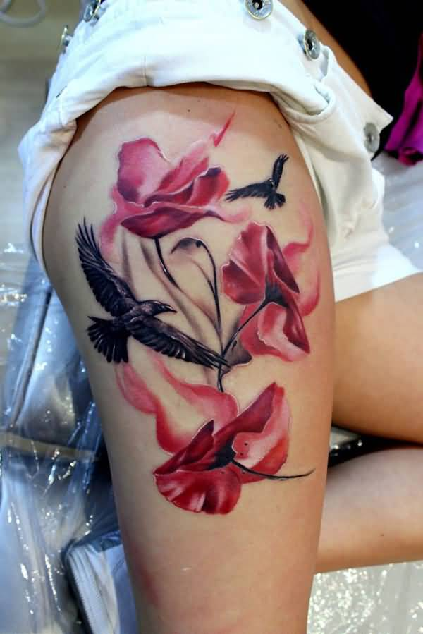 wonderful Poppies and Bird Tattoo on thigh With colourful ink For Man And Woman