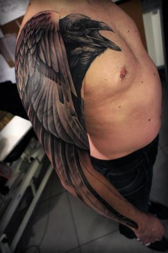 wonderful Raven Sleeve Tattoo full sleeve with Black ink For Man And Woman