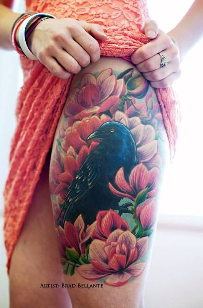 wonderful Raven and flowers thigh tattoo on thigh with Black & Red ink For Man And Woman