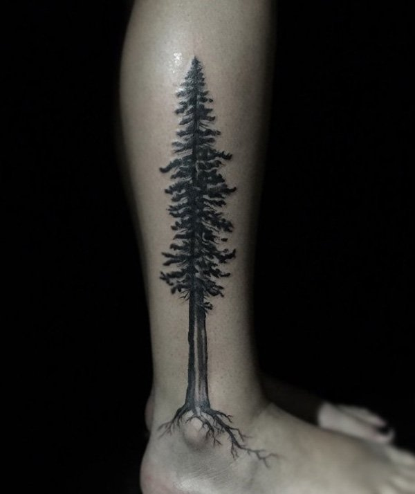 Wonderful Tree Calf Tattoo With Black Ink For Man Woman