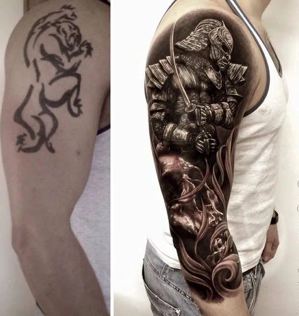 Wonderful Warrior Cover Up Sleeve Tattoo With Colourful Ink For Man And Woman