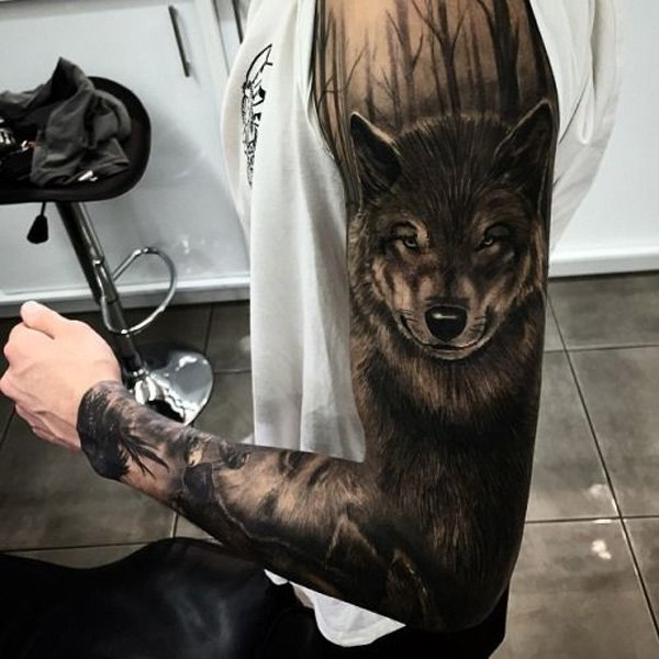 wonderful foresrt and 3D fox full sleeve tattoo on full arm With Black ink For Man And Woman