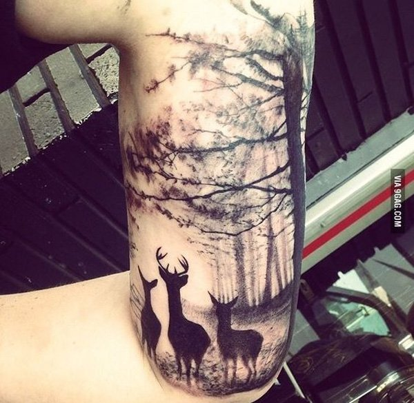 wonderful forest and deer tattoo on side With Black ink For Man And Woman