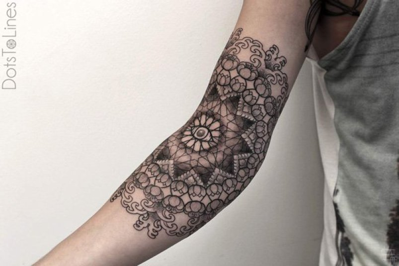Wonderful Pattern Tattoo On Arm With Black Ink For Man & Woman