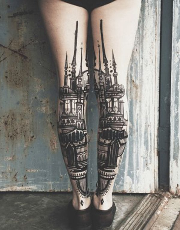 Wonderful calf Tattoo With Colourful Ink For Man Woman