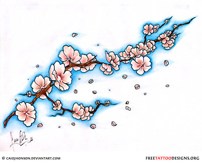 Adorable Blue Black And Red Color Ink Cherry Blossom Tattoo Design For Girls